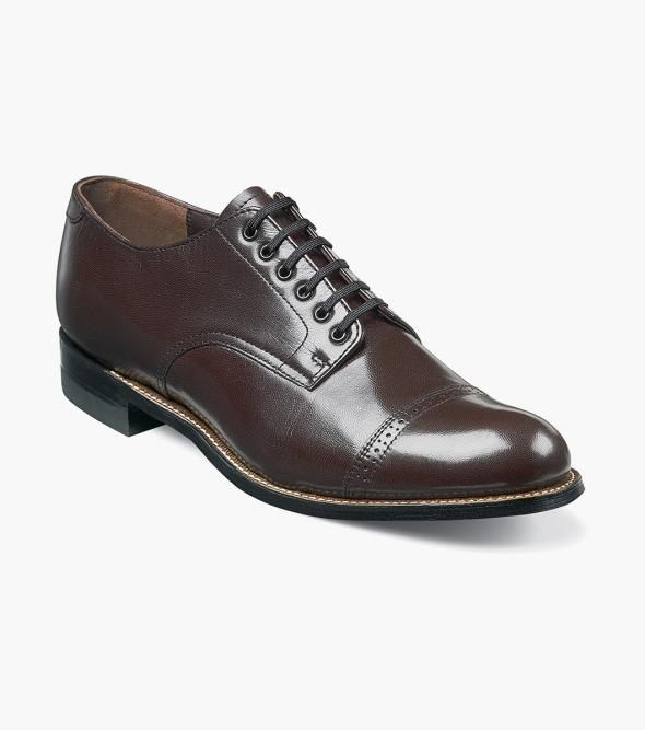 Edwardian Men's Shoes- New shoes, Old Style Madison Cap Toe Oxford Stacy Adams Mens Madison Cap Toe Kidskin Classic Oxford $120.00 AT vintagedancer.com