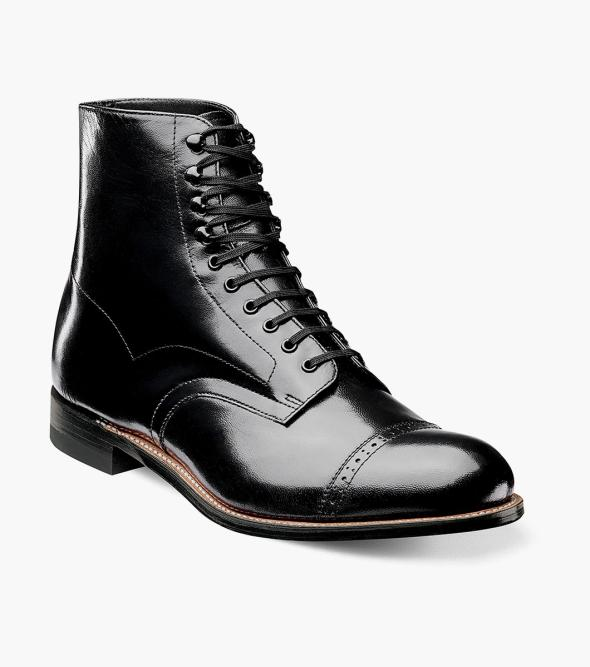 Downton Abbey Men's Fashion Guide Madison Cap Toe Boot Stacy Adams Mens Madison Cap Toe Kidskin Classic Boot $135.00 AT vintagedancer.com