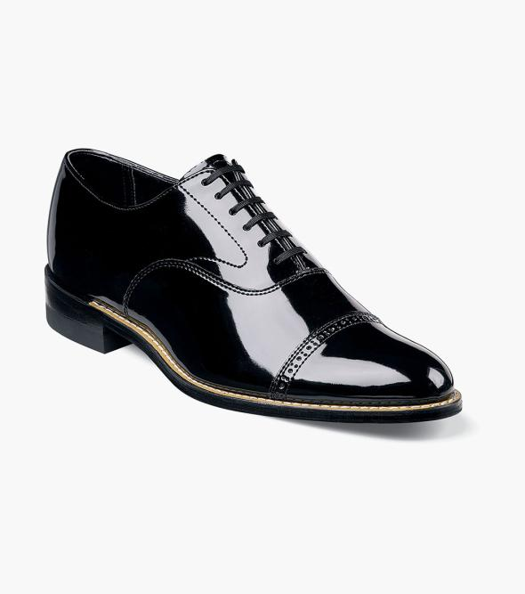 Edwardian Men's Shoes- New shoes, Old Style Concorde Cap Toe Oxford Stacy Adams Mens Concorde Cap Toe Poromeric Patent Classic Oxford $95.00 AT vintagedancer.com