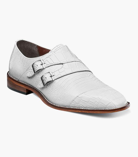 Toscano Leather Sole Angled Cap Toe Double Monk Strap