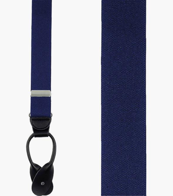 Button Suspenders Solid Navy