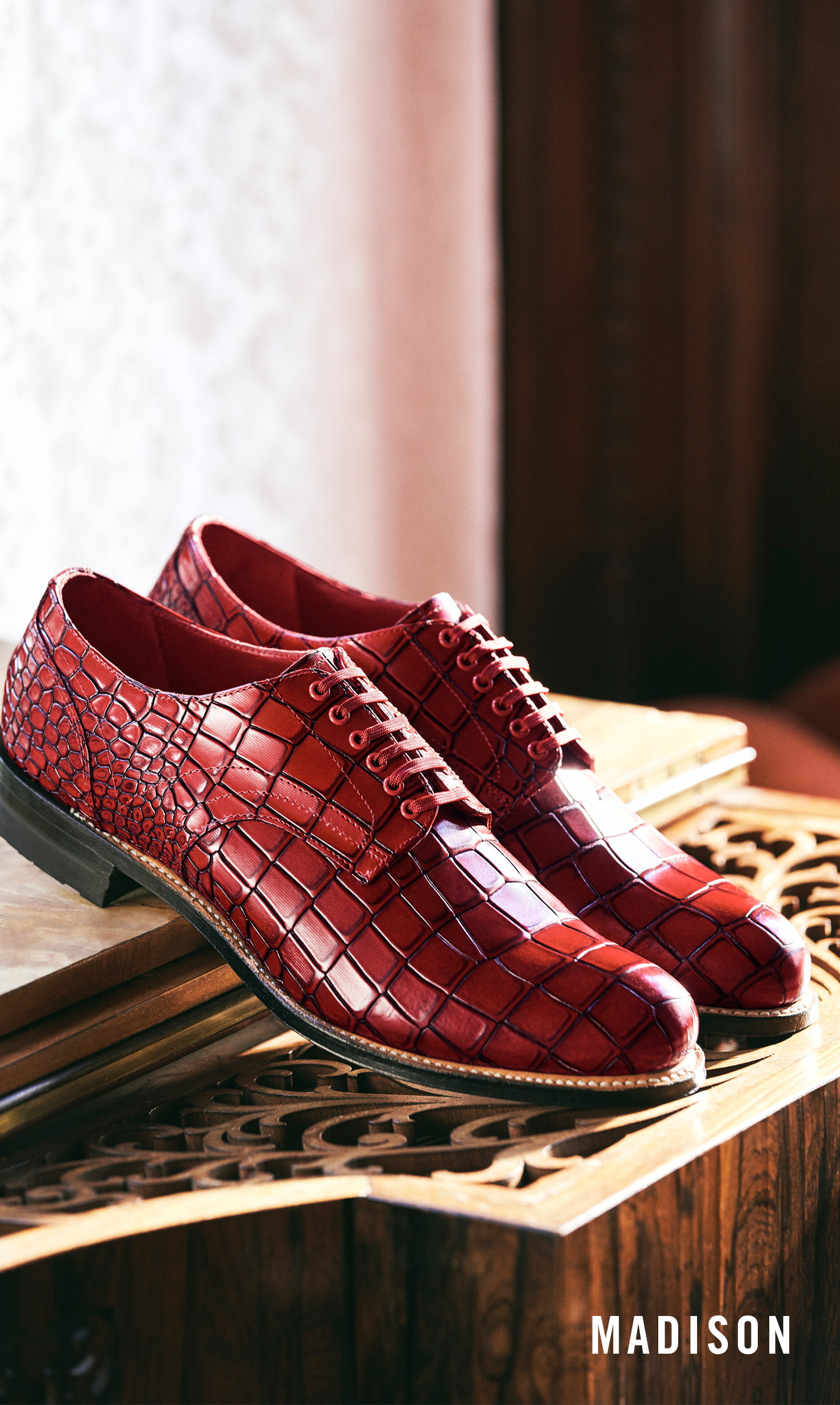 Men's Classic Shoes category. The featured product is the Madison Plain Toe Oxford in Red.