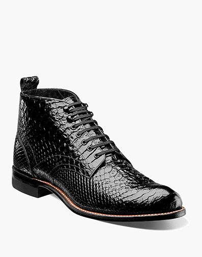 Madison Anaconda Plain Toe Boot in Black for $145.00