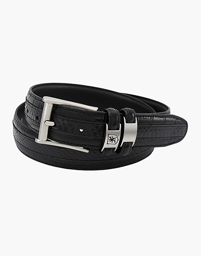 Maes Genuine Snakeskin Emboss Belt in Black for $46.00