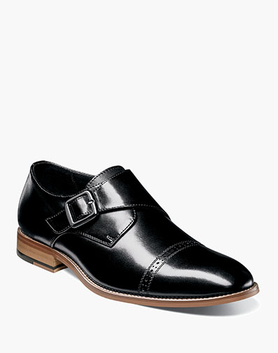 Desmond Cap Toe Monk Strap in Black for $100.00