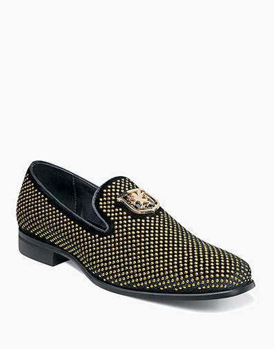 Swagger  Studded Slip On in Black and Gold for $70.00