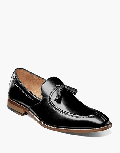 Donovan Moc Toe Drop Tassel in Black for $100.00