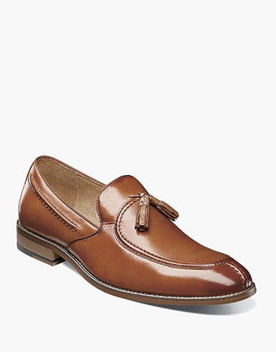 Donovan Moc Toe Drop Tassel in Tan for $100.00