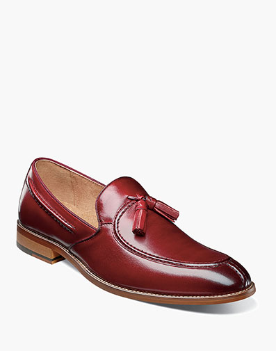 Donovan Moc Toe Drop Tassel in Cranberry for $100.00