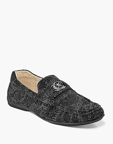 Cypher Moc Toe Slip On in Black and Silver for $65.00