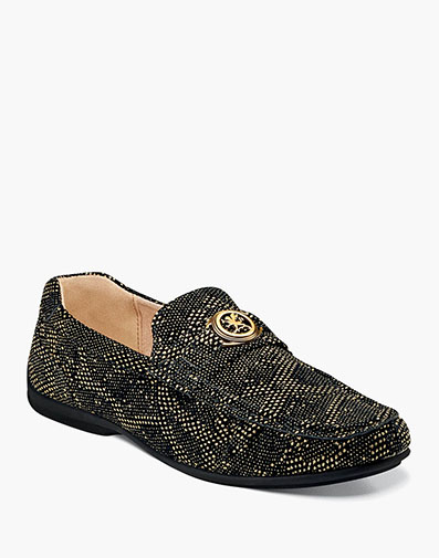 Cypher Moc Toe Slip On in Black and Gold for $65.00