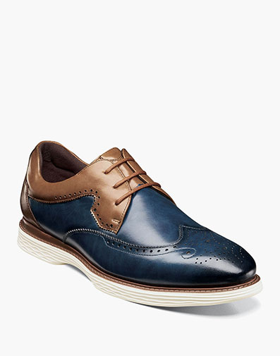 Regent Wingtip Oxford in Ink Blue and Tan for $100.00