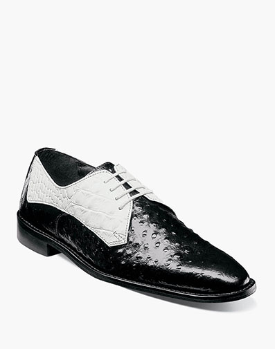 Russo Leather Sole Plain Toe Oxford in Black w/White for $95.00