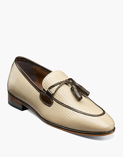 Bianchi Leather Sole Moc Toe Tassel Slip On in Taupe Multi.