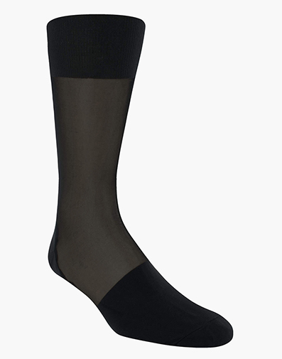 Silky Sheer Men's Crew Dress Sock in Black for $9.00