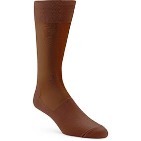 Silky Sheer Men's Crew Dress Sock in Cognac for $9.00