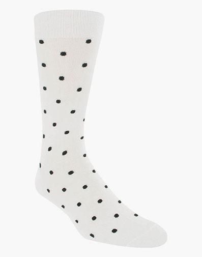 Classic Dots Men's Crew Dress Sock in White for $9.00