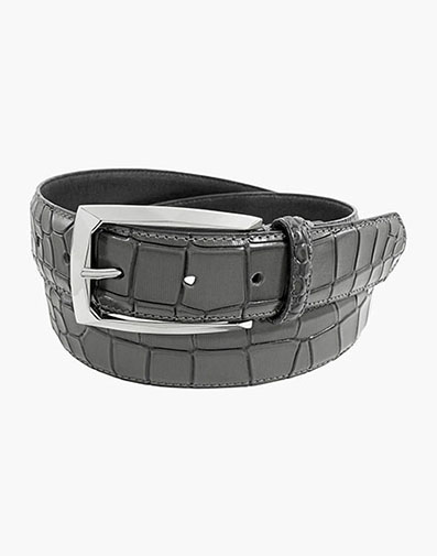 Ozzie Genuine Leather Croc Emboss Belt in Gray for $42.00