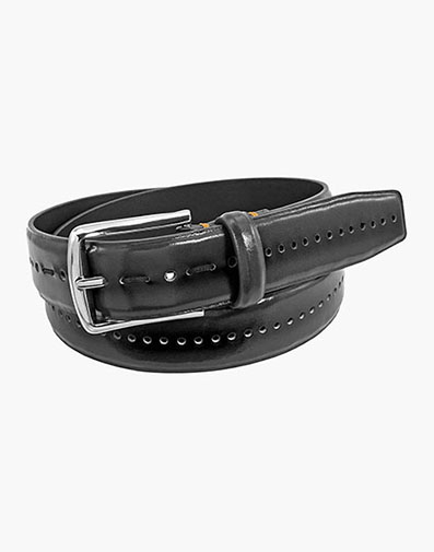 Carnegie Perf Leather Belt in Black for $39.00