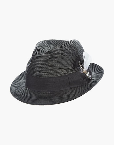 Belmont Fedora Poly Braid Pinch Front Hat in Black for $40.00