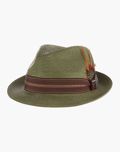 Runyon Fedora Poly Braid Pinch Front Hat in Sage for $50.00
