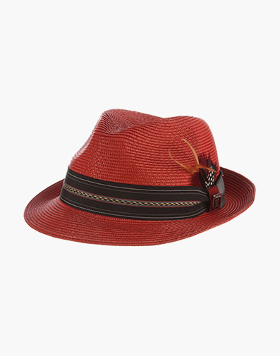 Runyon Fedora Poly Braid Pinch Front Hat in Red for $50.00