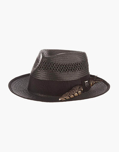San Francisco Fedora Toyo Pinch Front Hat in Black for $70.00