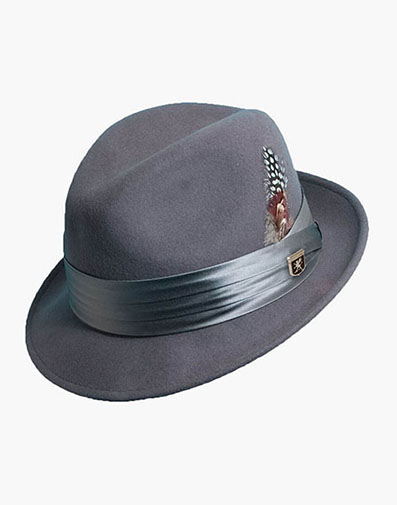 Ash Fedora Crushable Wool Felt Pinch Front Hat in Gray for $50.00