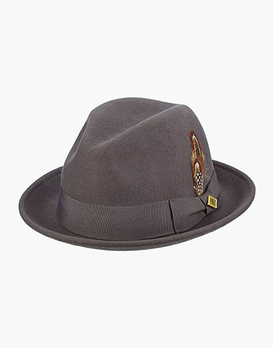 Ari Fedora Wool Felt Pinch Front Hat in Gray for $50.00