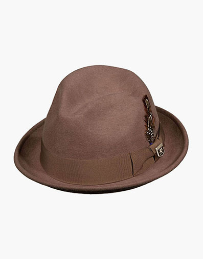 Ari Fedora Wool Felt Pinch Front Hat in Taupe for $50.00
