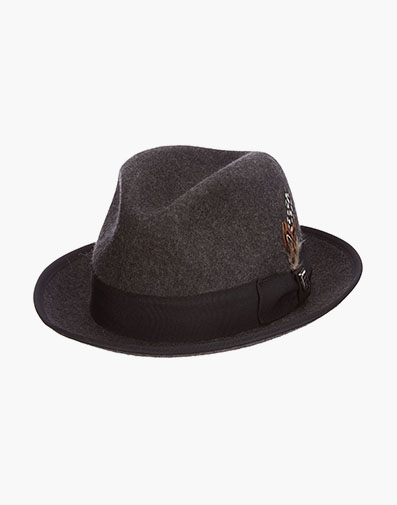 Clifton Fedora Wool Pinch Front Hat in Charcoal for $39.90