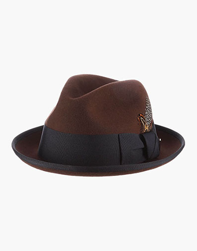 Blair Fedora Pinch Front Hat in Brown for $60.00