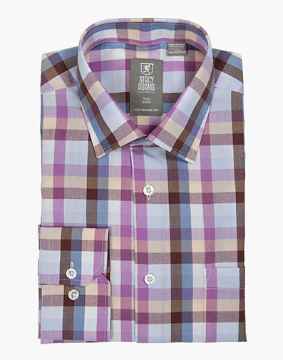 Pinecrest Dress Shirt Spread Collar in Purple Multi for $40.00