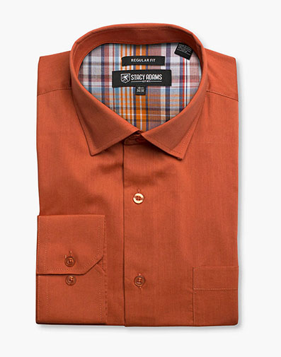 Aliota Dress Shirt Point Collar in Rust for $40.00