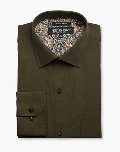 Aliota Dress Shirt Point Collar in Green for $40.00